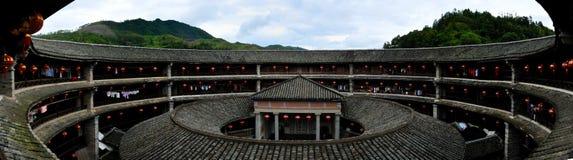 China Fujian Hakka Tulou. Internal vibration into the floor panorama Stock Photo