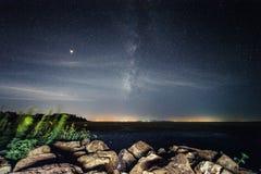 China Galaxy in Taihu JiangSu. Galaxy and star trails photograph in Taihu JiangSu province where has light pollution stock images