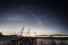 China Galaxy in Taihu JiangSu. Galaxy and star trails photograph in Taihu JiangSu province where has light pollution royalty free stock images