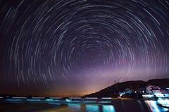 China Galaxy in Taihu JiangSu. Galaxy and star trails photograph in Taihu JiangSu province where has light pollution stock photography