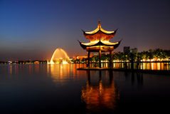 China Garden. Integration of natural, classical Chinese garden architecture, sunrise and sunset Stock Photo