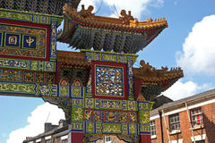 China gate. Entrance to Chinatown, Liverpool Royalty Free Stock Photos
