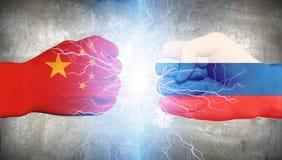 China gegen Russland Stockbild