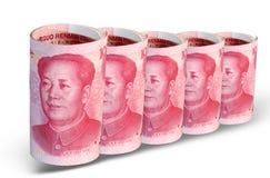 China-Geld in einer Reihe Stockbild