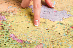 China in geography atlas. Royalty Free Stock Photos