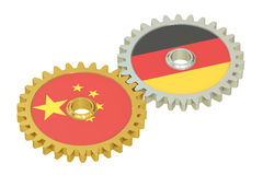China and Germany flags on a gears, 3D rendering Royalty Free Stock Photography