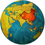 China on globe map Royalty Free Stock Photo