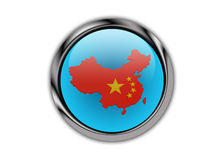 China On Glossy Push Button Royalty Free Stock Photos
