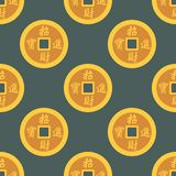 China gold money coins seamless pattern cash wealth concept banking payment exchange growth economy design earnings. Metal vector illustration. Investment Royalty Free Stock Photos