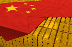 China gold reserve stock. (creative concept): golden bars (ingots, bullions) are covered with chinese flag in the storage (treasury) as symbol of national gold Stock Photography