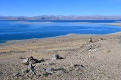 China. Great lakes of Tibet. Lake Teri Tashi Namtso in sunny day in June stock image