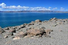 China. Great lakes of Tibet. Lake Teri Tashi Namtso in sunny day in June stock photo