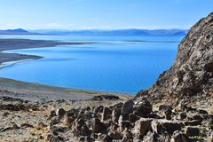 China. Great lakes of Tibet. Lake Teri Tashi Namtso in sunny day in June royalty free stock photos
