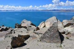 China. Great lakes of Tibet. Lake Teri Tashi Namtso in sunny summer day royalty free stock photo