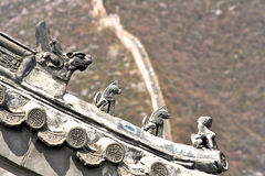 China great wall detail. China beijing great wall statues detail stock photo