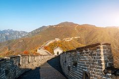 China The great wall distant view compressed towers and wall segments autumn season in mountains near Beijing ancient chinese for. Tification military landmark royalty free stock images