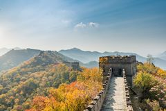 China The great wall distant view compressed towers and wall seg. Ments autumn season in mountains near Beijing ancient chinese fortification military landmark Royalty Free Stock Photo