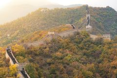 China The great wall distant view compressed towers and wall seg Stock Image