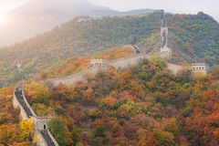 China The great wall distant view compressed towers and wall seg stock images