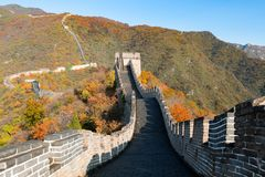 China The great wall distant view compressed towers and wall segments autumn season in mountains near Beijing ancient chinese for. Tification military landmark stock photography