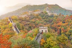 China The great wall distant view compressed towers and wall seg. Ments autumn season in mountains near Beijing ancient chinese fortification military landmark Royalty Free Stock Images