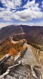 China Great Wall Stairs Vertical. China the Great wall north from Beijing vertical view towards zigzags of fortification top in mountains royalty free stock images