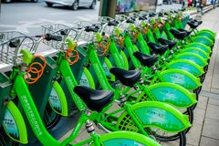 China green Shared cycling stock image
