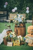 Outdoor wedding scenes, buckets and flowers royalty free stock photography