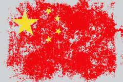 China grunge, old, scratched style flag Royalty Free Stock Image
