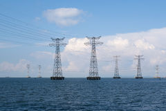 China Guangdong Shenzhen Coastal Power Grid High Voltage Transmission Line Royalty Free Stock Images