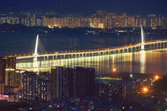 China Guangdong Shenzhen, Shekou, Shenzhen Bay Bridge Night. Eastphoto, tukuchina, China Guangdong Shenzhen, Shekou, Shenzhen Bay Bridge Night, Transportation Stock Images