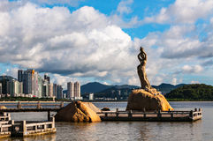 China Guangdong Zhuhai Fisher Girl statue cityscape Royalty Free Stock Photo