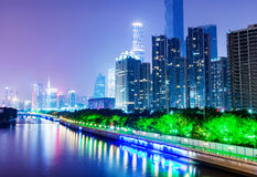 China Guangzhou Night. China Guangzhou Pearl River, riverside skyscraper royalty free stock image
