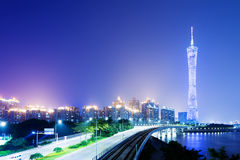 China Guangzhou Night. Zhujiang River and modern building of financial district in guangzhou china stock photos