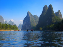 China Guilin  Landscape. Lijiang river surrounded by unique hills, beautiful scenery, idyllic landscape representative for this area. China, Guilin city Stock Photo