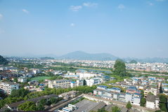 China Guilin panorama. Surrounded by green hills of Guilin, Li River from the city through Stock Photography