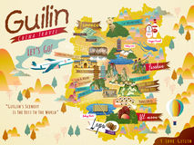China Guilin travel map Royalty Free Stock Images