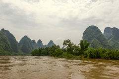China, Guilin-Yangshuo; Lee river. After rain Stock Image