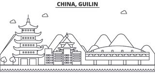 China, Gulin architecture line skyline illustration. Linear vector cityscape with famous landmarks, city sights, design vector illustration