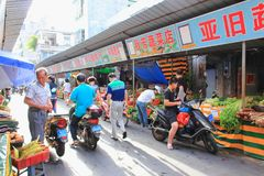 Street Asian market with fresh vegetables stock photo