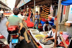 Street market in Old town Haikou town. Royalty Free Stock Photography