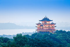 China hangzhou famous chenghuangge landscape in the evening. Hangzhou, China - on August 31, 2015: Chinese traditional Chenghuangge Pavilion Building scenery in Stock Photos