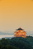 China hangzhou famous chenghuangge landscape in the evening Stock Image