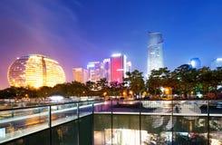 China Hangzhou Night. China Hangzhou skyscrapers, night landscape royalty free stock photography