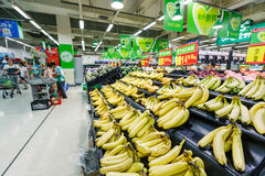 China hangzhou wal-mart supermarket retail items fruit banana. Hangzhou, China - on September 8, 2015: Wal-Mart supermarket interior view,wal-mart is an stock photography
