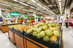 China hangzhou wal-mart supermarket  retail items fruit Royalty Free Stock Photography