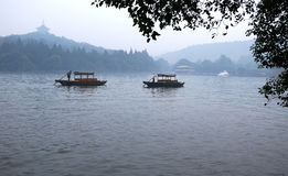China hangzhou west lake. The rain coasts China hangzhou west lake Royalty Free Stock Images