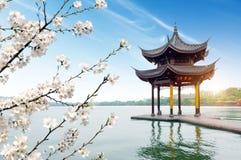China Hangzhou West Lake Landscape. Chinese ancient pavilion on the west lake in hangzhou stock image