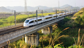 China High-speed Rail. The high speed train in the early morning,China stock image