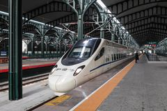 China High-speed Train. In station royalty free stock photo